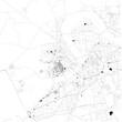 Cartina di Surat, Gujarat, vista satellitare, mappa in bianco e nero. Stradario e mappa della città. India