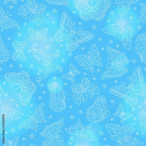 Poster Kunstmatig Seamless pattern with outline butterflies and flowers, the white outlines on a blue background