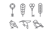 Set Of Keys, Leaves And Birds Hummingbird, Woodpecker And Sparrow In Linear Style. Vector Elements For Book Or Postcard