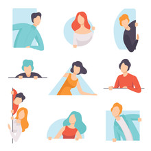 People Peeping Set, Young Men And Women Looking Out Of Windows Vector Illustration On A White Background