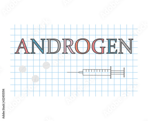 androgen word on checkered paper sheet- vector illustration Canvas Print