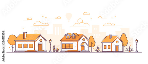 Town landscape - modern thin line design style vector illustration