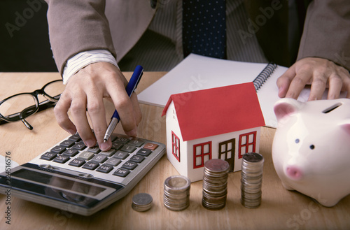Fotomural Businessman agent offer loan money and sale home