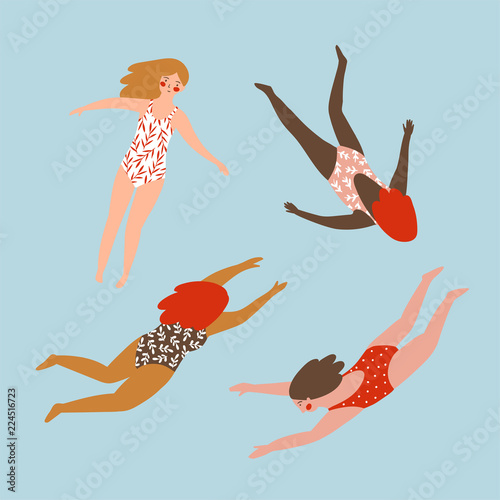 Fototapeta A set of figures of young girls in swimsuits of different nationalities. Cute vector illustration in hand drawn style. Swimming collection. obraz na płótnie