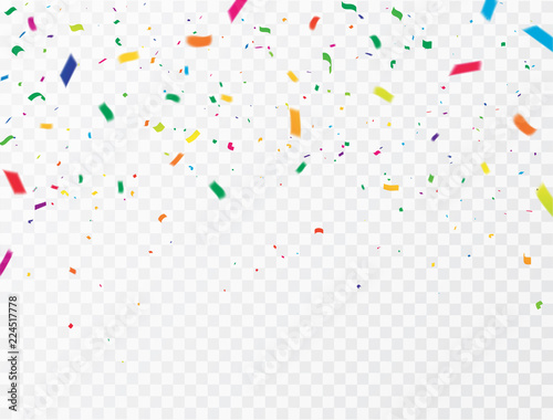 Obraz Celebration background template with confetti Colorful ribbons. luxury greeting rich card. - fototapety do salonu