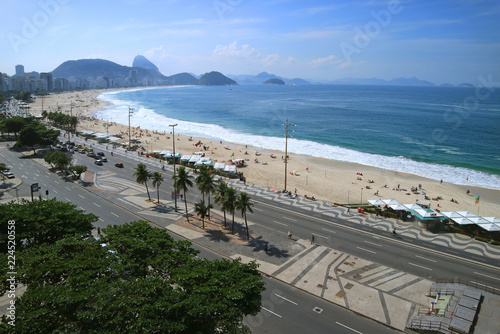 Stunning aerial view of Copacabana Beach with Sugar Loaf mountain in the distance, Rio de Janeiro, Brazil, South America