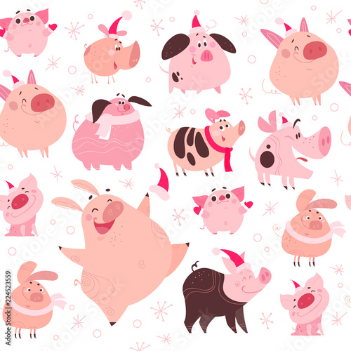 9188d62860e Vector flat seamless pattern with christmas snow flake elements and funny  pig in santa hat characters design isolated on white background.