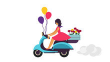Girl In Red Dress On Retro Scooter Carries Flowers And Multicolored Balloons On White Background. Flat Design