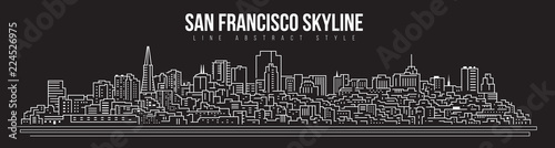 Photo  Cityscape Building skyline panorama Line art Illustration design - san francisco