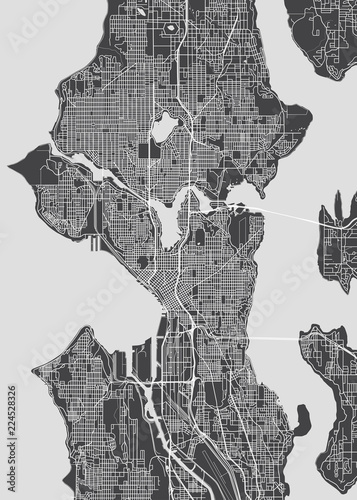 Photo City map Seattle, monochrome detailed plan, vector illustration