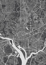 City Map Washington, Monochrom...