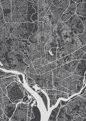 City map Washington, monochrome detailed plan, vector illustration Fotomurales