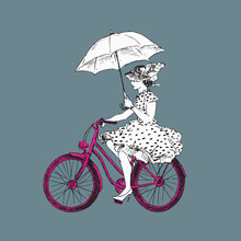 Lady In Polka Dot Dress In Hat And High Heels With Open Umbrella Riding Pink Bicycle, Hand Drawn Doodle, Sketch Black And White Outline Vector Illustration On Gray Background