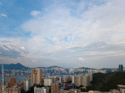 Foto  Hong Kong Downtown with blue sky