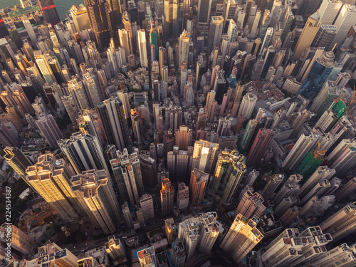 Fototapeten New York Aerial view of Hong Kong Downtown. Financial district and business centers in smart city in Asia. Top view of skyscraper and high-rise buildings.