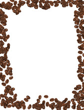 Coffee Beans Isolated In White Background. Vector Illustration.
