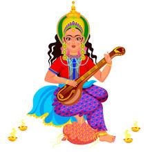 Diwali Holiday Goddess Saraswati With Veena