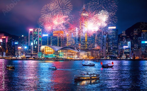 Photo Stands Asian Famous Place Firework show in Hong Kong Victoria Harbor