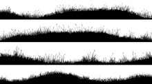 Horizontal Banners Of Wavy Meadow Silhouettes With Grass.