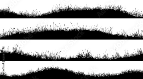 Fotografie, Obraz Horizontal banners of wavy meadow silhouettes with grass.