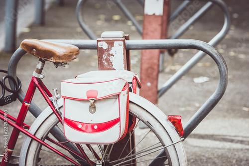 Poster Fiets Vélo avec sacoches vintage