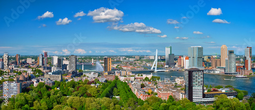 Foto op Canvas Rotterdam View of Rotterdam city and the Erasmus bridge