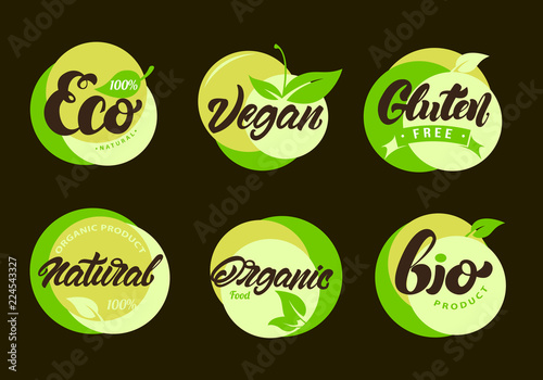 Set of Eco labels with lettering  Healthy, natural food