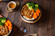 Teriyaki Chicken Rice Soft Chicken Full Bowl And Dipping Sauce Teriyaki Popular Japanese Menu