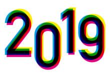 Carte De Vœux 2019 Avec Un Graphique De Chiffres Décalés Reprenant Les Couleurs De La Quadrichromie