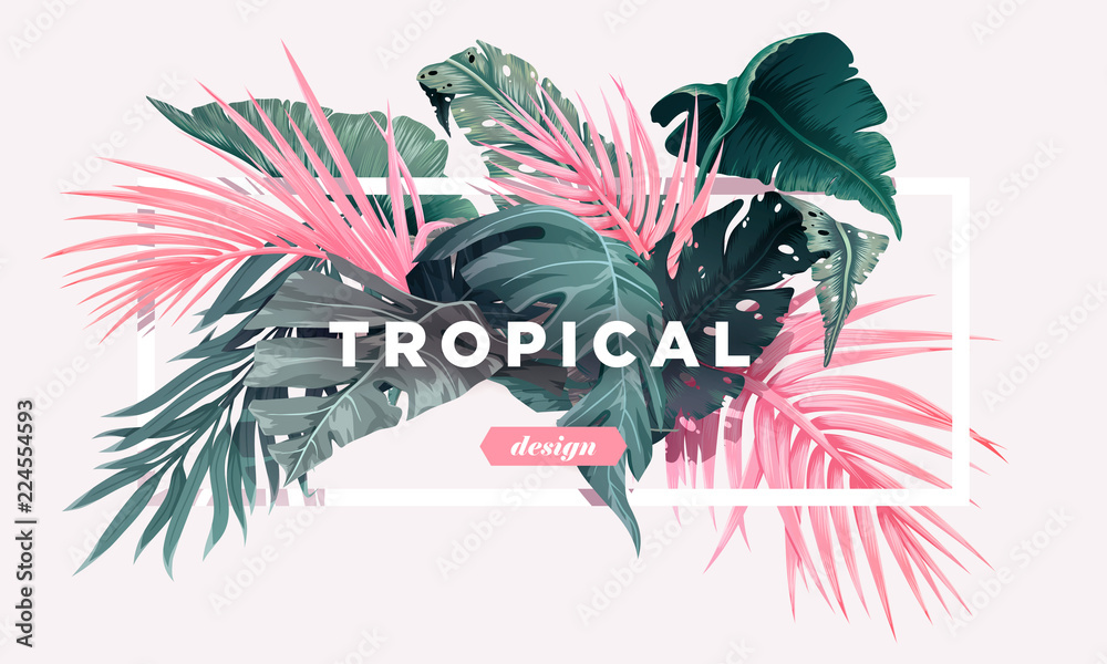 Fototapeta Bright tropical background with jungle plants. Exotic pattern with palm leaves. Vector illustration