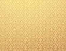 Gold Wallpaper With Damask Pat...