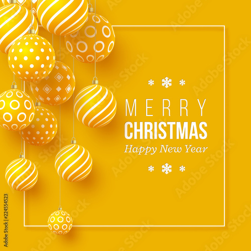 Christmas yellow baubles with geometric pattern. 3d realistic style with white frame, abstract holiday background. Vector illustration.