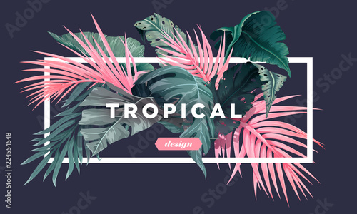 Bright tropical background with jungle plants Wallpaper Mural