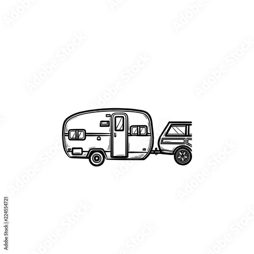 Photo Camper and car hand drawn outline doodle icon
