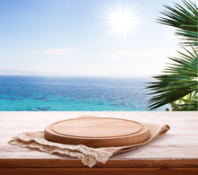 Pizza Board, With Tablecloth On Wooden Table And Summer Background. . Top View Mockup