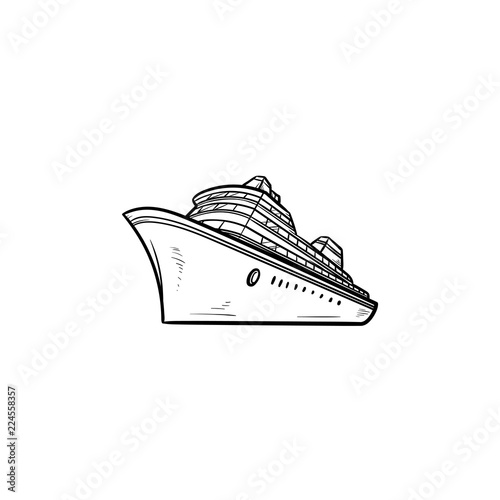 Fotomural Sea cruise ship hand drawn outline doodle icon