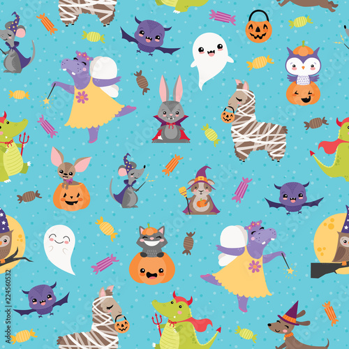 Vector Blue Halloween Friends Seamless Pattern Background