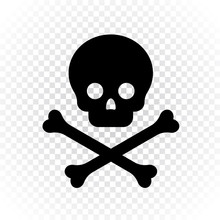 Vector Illustration Of Skeleton Skull With Crossed Bones. Simple Black Icon Of Death, Halloween Or Poison Design On Transparent Background. Deadly Dangerous Concept.