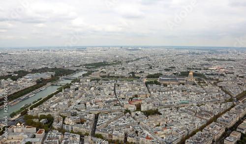 Staande foto Parijs Panoramic view of Paris and Seine River