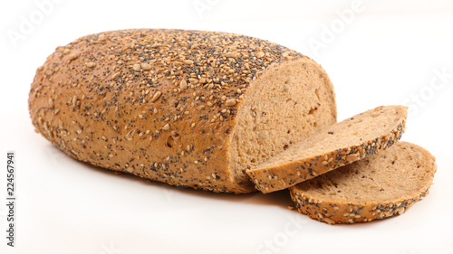 Spoed Foto op Canvas Brood bread isolated on white background