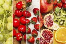 Variedad De Frutas Collage. Composición