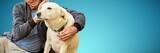 Fototapeta Zwierzęta - Composite image of smiling old man sitting stroking his pet dog
