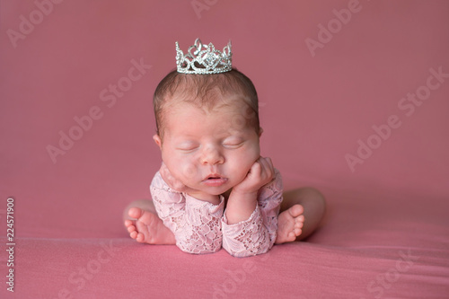 Sleeping Newborn Baby Girl Wearing a Tiara