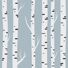 Seamless Pattern With Birch Trees. Design Element For Wallpapers, Web Site Background, Baby Shower Invitation, Birthday Card, Scrapbooking, Fabric Print Etc. Vector Illustration.