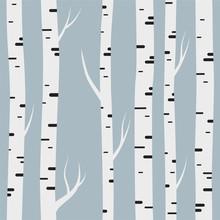 Seamless Pattern With Birch Tr...