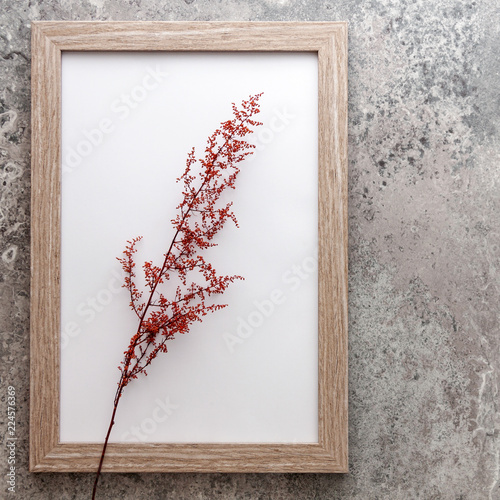 Foto op Plexiglas Retro Old concrete wall with a wooden frame with red grass