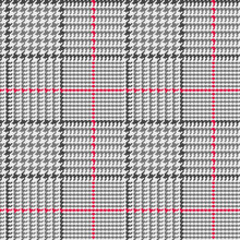 Glen Plaid Seamless Vector Pattern In Black And Gray With Red Overcheck Stripe. Prince Of Wales Check. Trendy Classic High Fashion Print. 8x8 Check Houndstooth. Pixel Perfect Tile Swatch Included