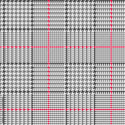 Photo Glen Plaid Seamless Vector Pattern in Black and Gray with Red Overcheck Stripe
