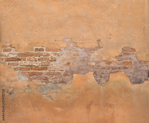 Deurstickers Oude vuile getextureerde muur Old brick wall background