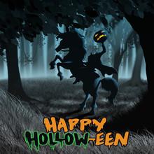 Sleepy Halloween Headless Horseman In Night Woods